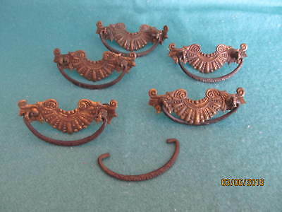 "Vintage Antique Set of Brass Drawer Pull Backs (5) and Handles (6) - 3"" c to c."