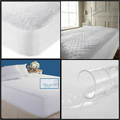 New Quilted Mattress Waterproof Protector & Terry Towel Microfiber Hotel Quality