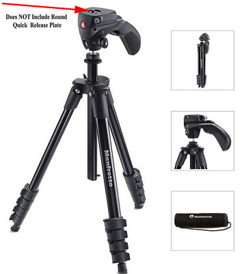 Manfrotto Compact Action Tripod - Black - (MKCOMPACTACN-BK) - With Bag - VG