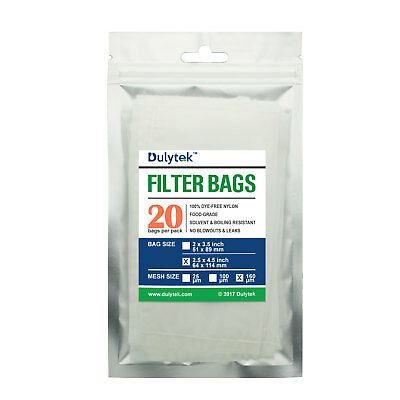 "Dulytek Rosin Press Nylon Filter Bags, 160 Micron, 2.5"" x 4.5"", 20 PCS, Screen"