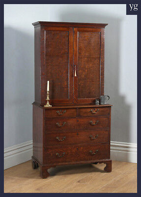 Antique Georgian Oak Bookcase Cupboard Incorporating a Chest of Drawers c.1800