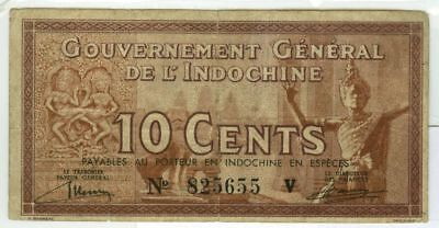 French Indo China 10¢ Fractional Note Type One 1939 Scarce