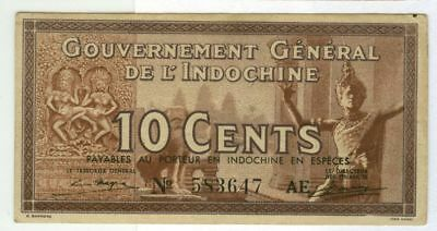 French Indo China 10¢ Fractional Note Type Two 1939 WWII