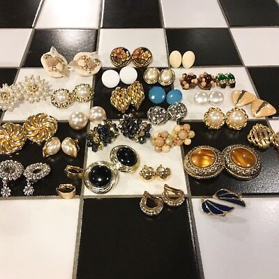 Job Lot Great Condition Vintage Clip On Earrings Jewellery Resale 28 X Pairs