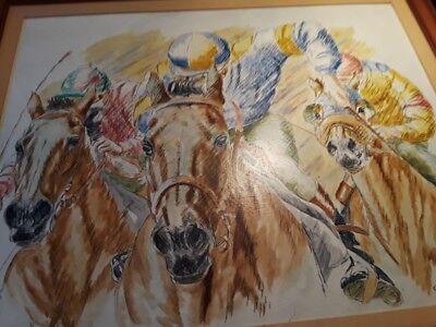 Charles Manley Tyler  Horse Racing painting  framed matted signed