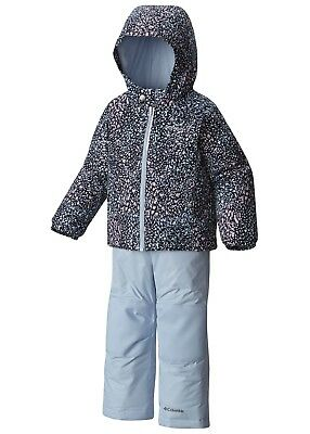Nwt Columbia Little Girls Frosty Slope Set, X-Small Xs, Faded Sky Snow Splatter