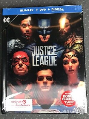 JUSTICE LEAGUE(BLU-RAY+DVD+DIGITAL)TARGET EXCLUSIVE 64 Pg Book New