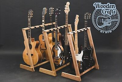Solid Oak, Redwood, Ash, Multi Wooden guitar stand, for 2, 3, 4, 5 or 6 guitars