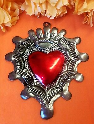Authentic Mexican Tin Folk Art Repoussed Heart with Crown Milagro
