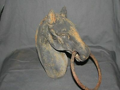 "Vintage Cast Iron Horse Head Hitching Post Topper w/Ring 8 1/2"" Tall Farm Fresh"