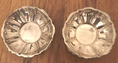Pair Of Antique Sterling Silver Signed Cartier Nut Dishes Bowl