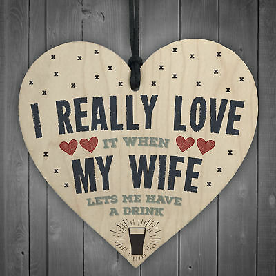 Love My Wife Drink FUNNY Novelty Alcohol Wooden Heart Man Cave Sign Gift Plaque