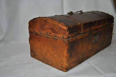 Antique Early Small Leather Covered & Hinged Stage Coach Dome Top Trunk