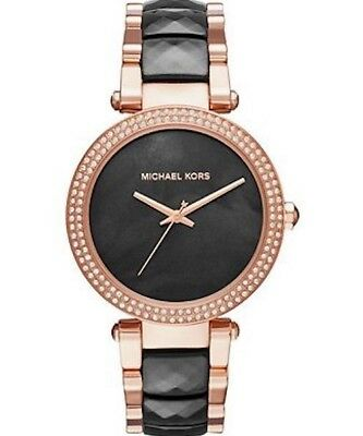 New Michael Kors MK6414 Women Parker Rose Gold Tone Black Acetate Bracelet Watch
