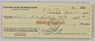 Edgar Rice Burroughs - Personal Check Signed
