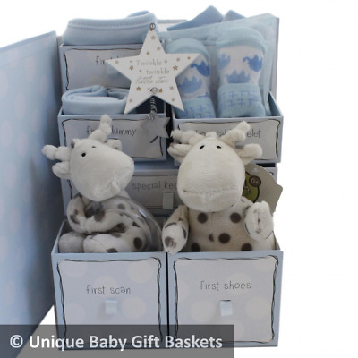 Packed keepsake box with drawers baby gift basket/hamper boy baby shower unique