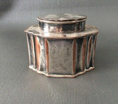 Antique Silver Plated on Copper Tea Caddy / Box