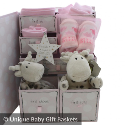 Packed keepsake box with drawers baby gift basket/hamper girl baby shower unique