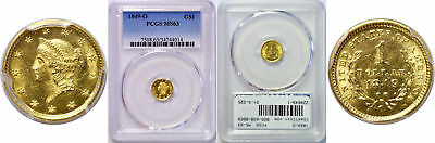 1849-O $1 Gold Coin PCGS MS-63