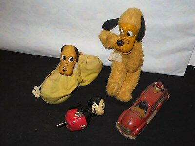 Vintage Walt Disney Toy Lot MICKEY MOUSE Linemar Twirling Tail Pluto &more (J866