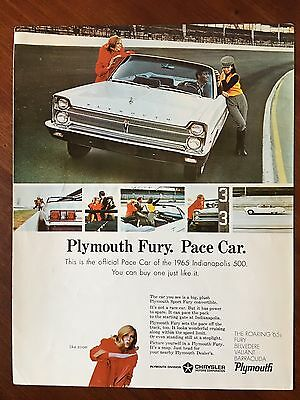Vintage 1965 Original Print Ad White PLYMOUTH FURY ~Pace Car Indianapolis 500~