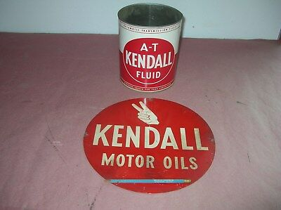 Vintage 12 In Kendall Double Sided Hanging Sign Motor Oil Can At Fluid
