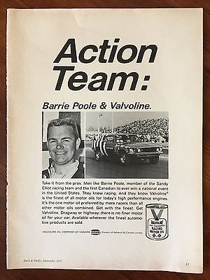Vintage 1971 Original Print Ad Barrie Poole & VALVOLINE Racing Motor Oil ~Action