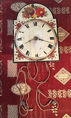Very Old Wooden Grandfather Clock Face And Movement- Antique Hand Made VERY RARE