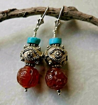Vintage Carved Chinese Carnelian Shou Turquoise Sterling Leverback Earrings 1.75