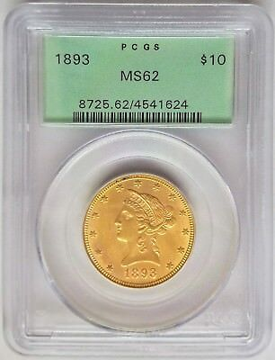 1893 $10 Liberty Head Gold Eagle PCGS MS62 Old Green Holder (OGH)