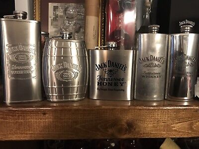 Jack Daniels Flask Lot English Honey Old No7 Tennessee