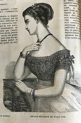 MODE ILLUSTREE SEWING PATTERN March 7,1869 - FICHUS, BLOUSES