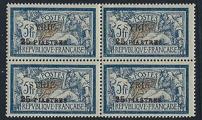 Syria 1924 25 Piasters On 58 Francs Block Of 4 W/major Error Syrii Two Ii Instea