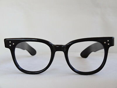 True Vintage SRO Black Wide Temple Plastic Hornrim 1960's Eyeglass Frame 46/24