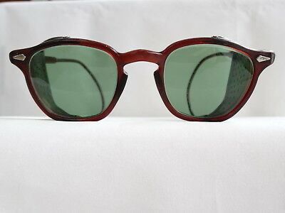 True Vintage Safety Sunglass Shields Cable Temples Hornrim 1960's Eyeglass Frame