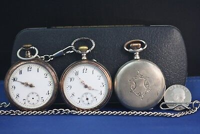 Antique silver pocket watches lot. 44-46mm.Hallmarked.2 run/tick.Good Balances!!