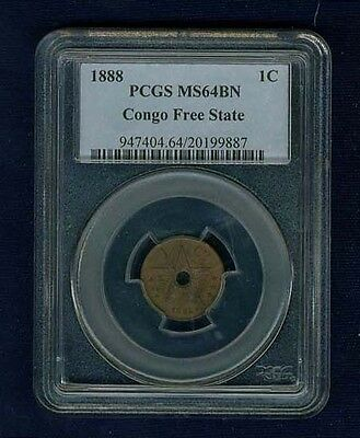 Congo Free State 1888  1 Centime Coin Certified Choice Uncirculated Pcgs Ms64-Bn