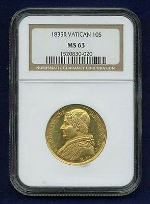 Italy Papal States 1835 10 Scudi Gold Coin Choice Mint State, Certified Ngc Ms63