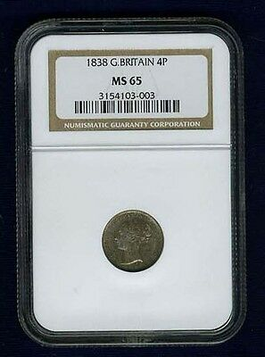 England Victoria 1838 4 Pence/groat Silver Coin Uncirculated, Ngc Certified Ms65