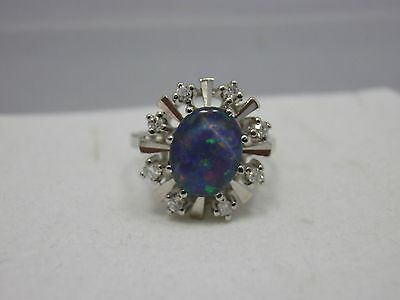 Opal Diamant Weissgold Ring 585 Gold 0,16 ct Diamant