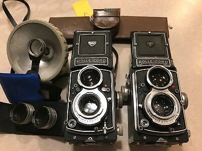 Rolleicord Va and Vb cameras with lots of accessories, Xenar 3.5/75 lenses.