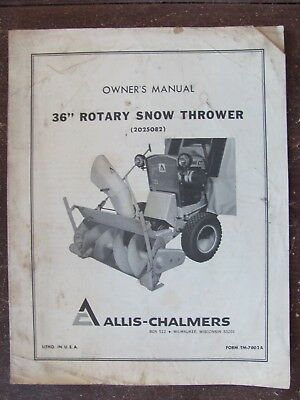"Allis Chalmers 36"" Rotary Snow Thrower Manual for 2025082"
