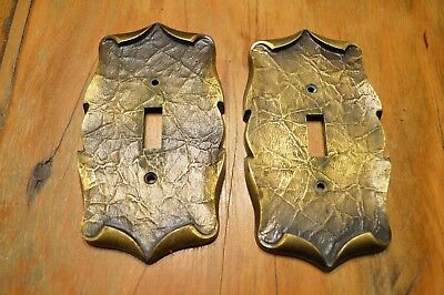 Lot Of 2 Vintage Antique Brass Light Switch Plates,electrical Plates,6""