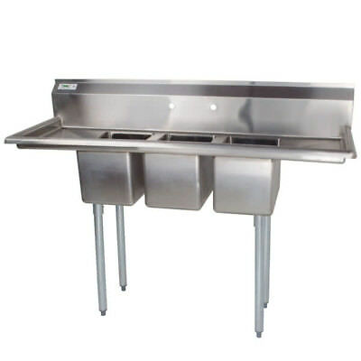 """58"""" NSF 3 Compartment Stainless Steel Commercial Pot Sink with Two Drainboards"""