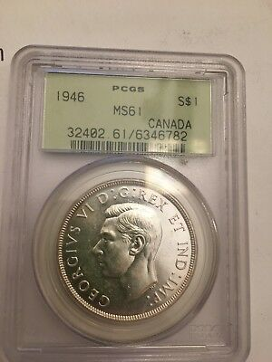 1946 S$1 Canada Dollar PCGS MS 61. Great older green label