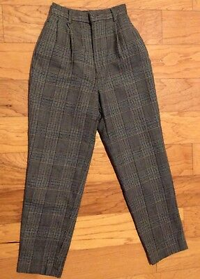 Vintage MD High Waisted Women Plaided Pant, Size XS