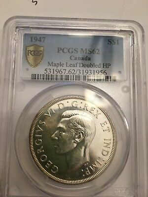 1947 canada silver dollar - Maple Leaf Doubled HP- PCGS MS62 Key Date