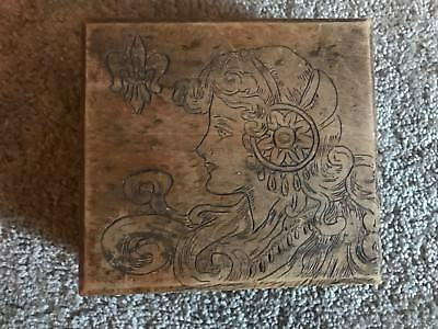 Antique Vintage Flemish Art Co Pyrography Wood Box 688 New York Leaf Art Design