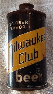 "Old Rare 1936 ""Milwaukee Club"" Beer Cone Top Can Low Profile 12 oz Schlitz IRTP"