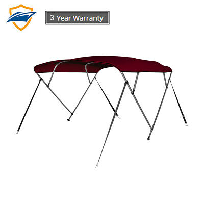 4 Bow Bimini Boat Top Cover with storage boot, Color Burgundy, sizes available